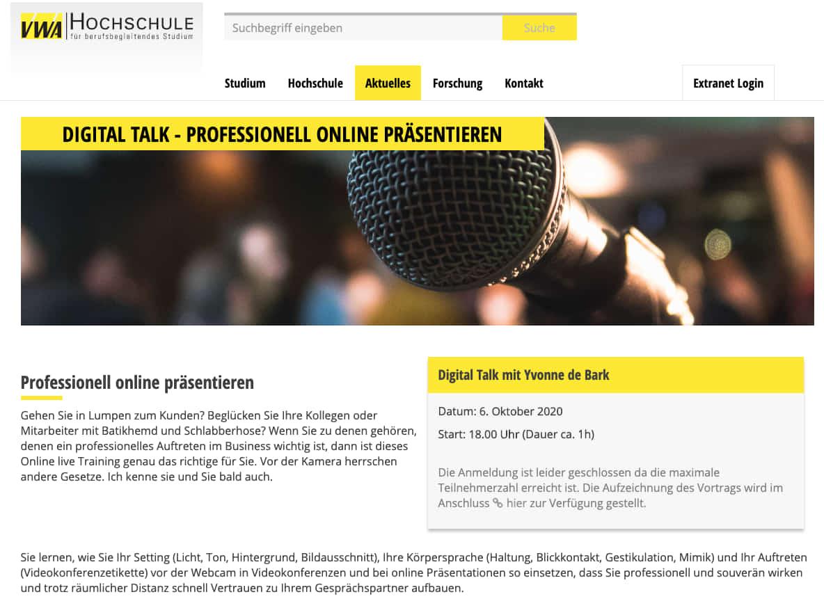 Digital Talk Professionell online Präsentieren mit Yvonne de Bark